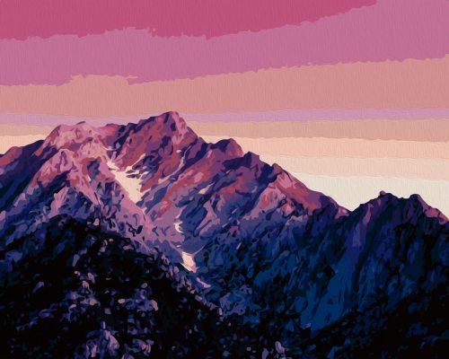 Картина по номерам (раскраска) 40х50 - Горы на закате ...